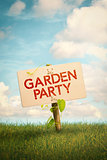 Garden Party Invitation Sign and Natural Background