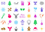 Colorful vector christmas silhouette signs