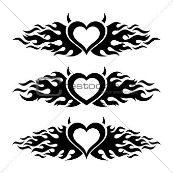 Black vector flaming heart love designs