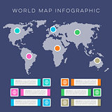 World map infographic vector template