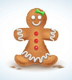 Gingerbread man decorated colored icing. Holiday cookie in shape of . Qualitative vector illustration for new year s day, christmas, winter , cooking, eve, food, silvester, etc