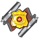 two handgun, badge