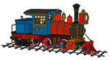 Funny vintage american steam locomotive