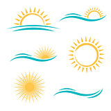Sun and Sea Logo Set