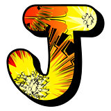 Letter J filled with comic book background.