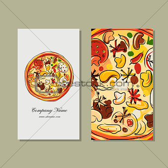 Business card design with pizza sketch