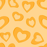 3D Golden hearts. Seamless background