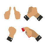 Icons hand gestures, vector illustration.