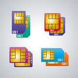 Icons dual sim card, vector illustration.