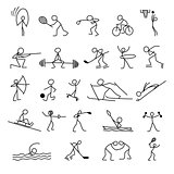 Cartoon icons sport set of stick figures sketch little people