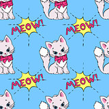 Seamless pattern with cute cats and MEOW saying. Vector illustration with white kittens on a blue background.