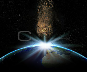 3D Earth with huge asteroid about to collide