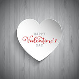 Valentine's Day heart on wood background