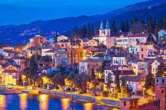 Town of Volosko evening waterfront view