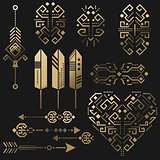 Tribal aztec vector gold stencil elements.
