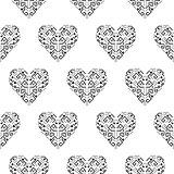 Tribal heart shape ornament seamless vector pattern.