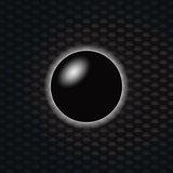 3D Black sphere over dark honeycomb background