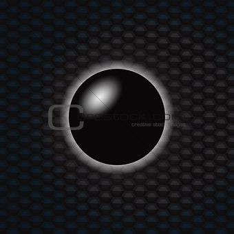 3D Black sphere over dark honeycomb background