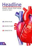 Low poly human heart cover design. A4 Medical journals, conference