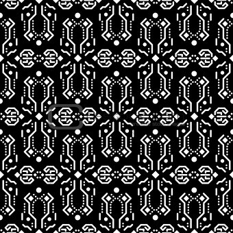 Abstract tribe dark ornament seamless vector pattern.
