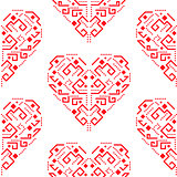 Navajo red heart shape ornament seamless vector pattern.