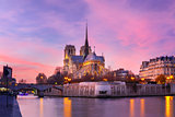 Cathedral of Notre Dame de Paris at sunset, France