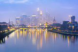 Foggy Frankfurt am Main during blue hour , Germany