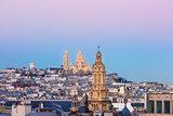 Sacre-Coeur Basilica at sunset in Paris, France