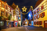 Christmas street at night, Colmar, Alsace, France