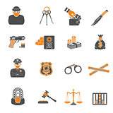 Crime and Punishment two color Icons Set
