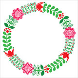 Finnish floral folk art round pattern - Nordic, Scandinavian style
