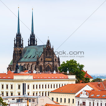 houses and Cathedral of St Peter and Paul in Brno