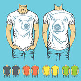 Vector t-shirts templates with prints of animals