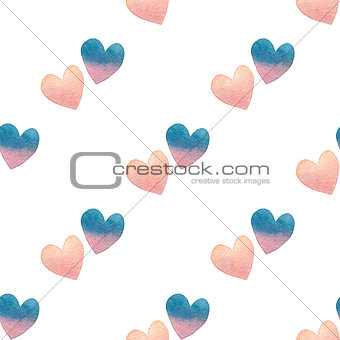 watercolor Valentine seamless pattern in pastel colors on white background. hand drawn illustration.