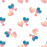 Valentine's day seamless pattern with watercolor hearts on white background.