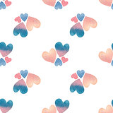 Valentine's day seamless pattern with watercolor hearts in pastel colors on white background.