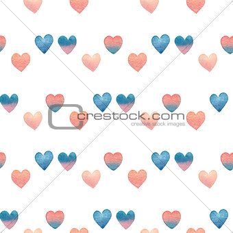 watercolor Valentine seamless pattern with gradient hearts on white background. hand drawn illustration.