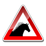 A warning sign horse