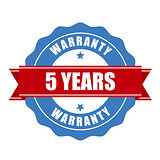 Five years warranty seal - round stamp