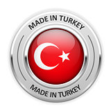 Silver medal Made in Turkey with flag