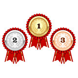 Silver, bronze and golden medals  - award rosette