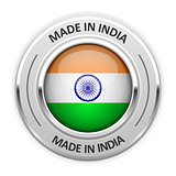 Silver medal Made in India with flag
