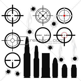 Crosshairs (gun sights), bullet cartridges and bullet holes