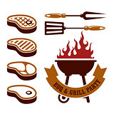 Barbecue party - steaks grill elements
