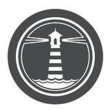 Maritime lighthouse icon with waves