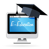 Distance learning - computer and mortarboard, e-education concep