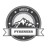 Pyrenees Mountains - Aneto peak round stamp