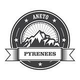 Pyrenees Mountains - Aneto peak round stamp