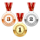 Winner silver, bronze and gold medals on ribbon