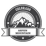 Aspen, Colorado - mountain peak round stamp